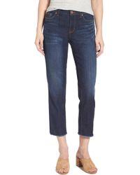 Halogen - (r) Frayed Hem Crop Jeans (navy Twilight) (regular & Petite) - Lyst