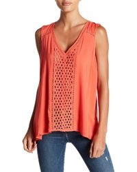Love Stitch - Lace Front And Back V-neck Tank - Lyst