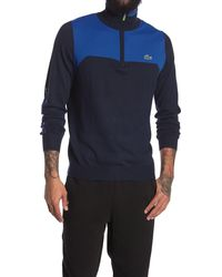 Lacoste 1/4 Zip Colorblock Pullover - Blue