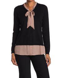 Adrianna Papell Long Sleeve V-neck Twofer Sweater - Black