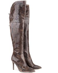 Perla Formentini Zucca Over-the-knee Python Embossed Leather Boot - Brown