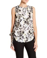 Ellen Tracy - Ruched Side Sleeveless Blouse - Lyst