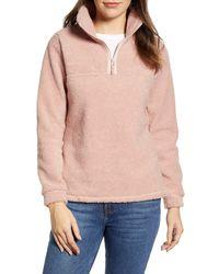 Caslon Quarter Zip Fleece Pullover - Pink