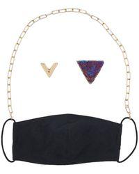 Panacea Gold Chain Black Face Mask, Mask Chain, & Stud Earrings 3-piece Set
