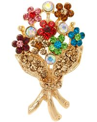Tasha Crystal Flower Pin - Metallic