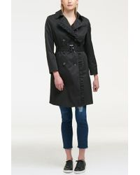 DKNY Solid Ruffled Double-breasted Trench Coat - Black