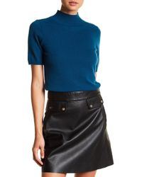In Cashmere | Short Sleeve Mock Neck Cashmere Sweater | Lyst