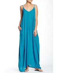 48d395473b1 Love Stitch V-neck Sleeveless Gauze Maxi Dress in Brown - Lyst