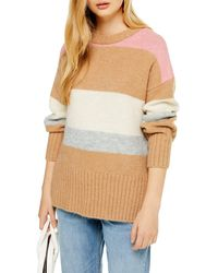 TOPSHOP Knitted Oversized Stripe Crew Sweater - Natural
