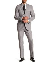Perry Ellis - Grey Check Plaid Two Button Notch Lapel Slim Fit Suit - Lyst