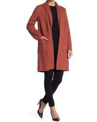 Joan Vass Shawl Collar Open Front Faux Leather Mid Jacket - Multicolor