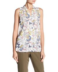Vince Camuto - Sleeveless Printed Blouse - Lyst