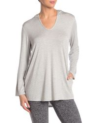 Splendid - Striped Cover-up Tunic Hoodie - Lyst