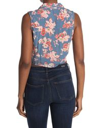 Volcom Tied In Nots Woven Cropped Floral Tank - Blue