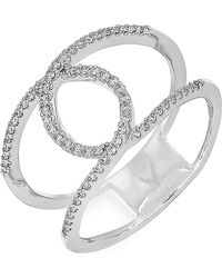 Bony Levy - 18k White Gold Pave Diamond Loop Double Band Ring - 0.21 Ctw - Lyst