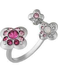 Swarovski - Cherie Rhodium Plated Crystal Mini Flowers Open Top Ring - Lyst