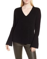 Nordstrom - Rib Knit Cashmere Bell Sleeve Jumper - Lyst