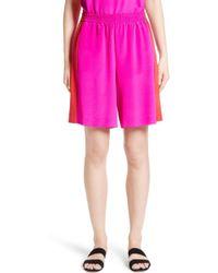 St. John - Silk Crepe De Chine Contrast Side Shorts - Lyst
