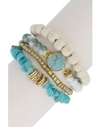 Saachi - Stackable Bead & Turquoise Accent Bracelet Set - Lyst