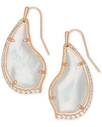 Kendra Scott Tulip 14k Rose Gold Plated Ivory Mother-of-pearl Cz Teardrop Earrings - White