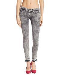 DIESEL - Skinzee Super Slim Skinny Released Fray Hem Jeans - Lyst