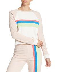 Wildfox Beach House Mellow Stripe Crop Cotton Sweatshirt - Multicolour