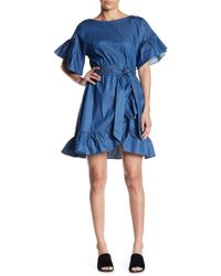 Soprano - Belted Chambray Ruffle Dress - Lyst
