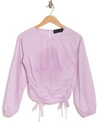 KNOWONECARES Ruched Long Sleeve Top - Purple