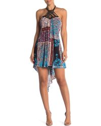 Sky - Beaded Halter Print Hi-lo Dress - Lyst