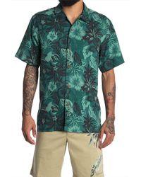 Tommy Bahama Core Fuego Floral Short Sleeve Regular Fit Silk Shirt - Green