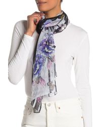 Max Studio - Rose & Stripe Print Silk Scarf - Lyst