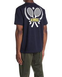 K-swiss Doubles Lockup Graphic Crew Neck T-shirt - Blue