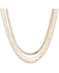 Panacea Herringbone Link Mix Layered Necklace - Metallic
