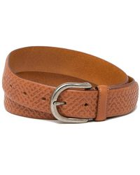 Tommy Bahama Embossed Weave Leather Belt - Brown
