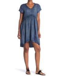Velvet Heart Griselda Ruffle Trim Washed Chambray High/low Dress - Blue