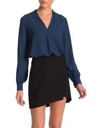 Lush Long Sleeve Woven Blouse - Blue