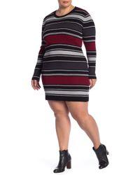 Derek Heart - Metallic Stripe Bodycon Sweater Dress - Lyst