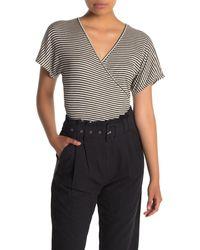 Lush Stripe Faux Wrap Knit Shirt - Black