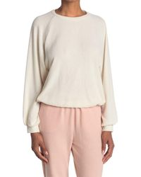 Lush Elastic Hem Raglan Sleeve Pullover - Natural