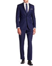 Simon Spurr | Navy Solid Wool Two Button Notch Lapel Suit | Lyst