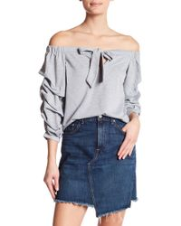 Oober Swank - Off The Shoulder Tie Up Cropped Sweater - Lyst