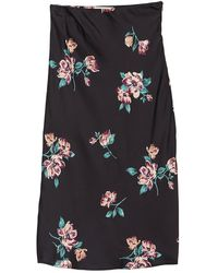 June & Hudson Floral Print Satin Skirt - Black