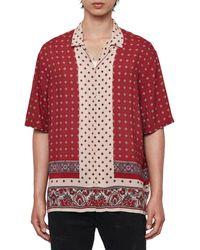 AllSaints Maltese Slim Fit Short Sleeve Shirt - Red
