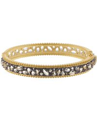 Freida Rothman - Rhodium & 14k Gold Plated Sterling Silver Anniversary Textured Pebbled Bangle - Lyst