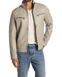 Michael Kors Perforated Faux Leather Moto Jacket - Natural