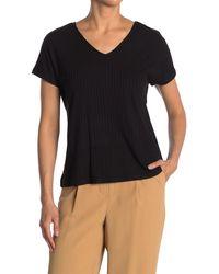Catherine Malandrino V-neck Ribbed Boxy T-shirt - Black