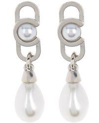 Carolee Vertical Link Imitation Pearl Teardrop Earrings - White