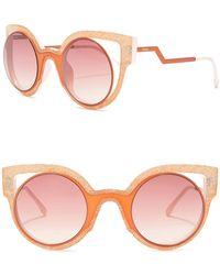 77aef40e77 Lyst - Fendi Runway Mirrored Cutout Sunglasses in Pink