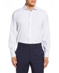 Report Collection Small Square Print Modern Fit Dress Shirt - White