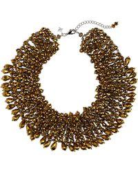 Panacea Crystal Beaded Collar Statement Necklace - Metallic